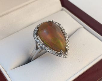 NEW- 14k White 3.38 ct pear shaped Opal & Diamond Ring Gemologist Appraised 3340