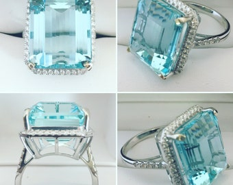 NEW- 18K White Gold 18.35 ct Natural Aquamarine (VS Clarity) & Diamond Engagement Ring Gemologist Appraised 14,370 GIA Certificate