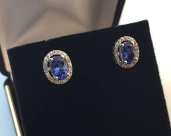 NEW- 14k White Gold 1.5 TCW Tanzanite & Diamond Earrings Gemologist Appraised 2300