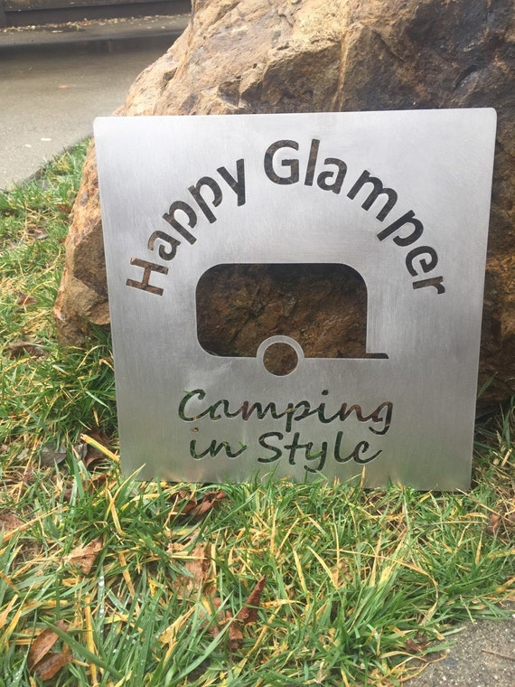 Happy Glamper metal sign