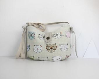 "Adjustable shoulder strap ""funny cats"" tote bag in ecru cotton"