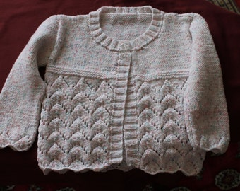 Hand knitted girl's cardigan