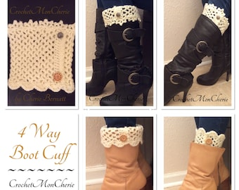 4 Way Boot Cuffs Crochet Pattern - Instant download - PDF file