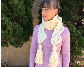Big Warm Hearts Scarf - Instant download - Crochet PATTERN (pdf file)