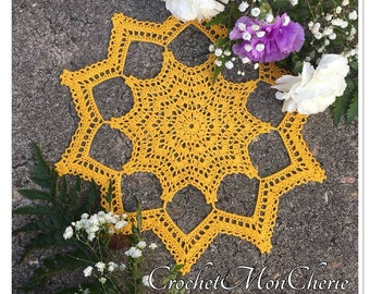 Suddenly Sunshine Doily - CrochetMonCherie - Instant download - Crochet PATTERN (pdf file)