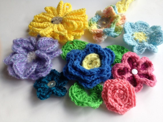 Instant Download Crochet Pattern Pdf File Flower Collection 1 Eight Beautiful Flowers Plus Free Headband Pattern Included