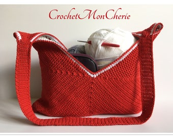 16 inch Reversible Satchel - Instant download - Crochet PATTERN (pdf file) – Purse