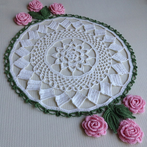 Planted Roses Doily Crochet Patern Instant Download Etsy