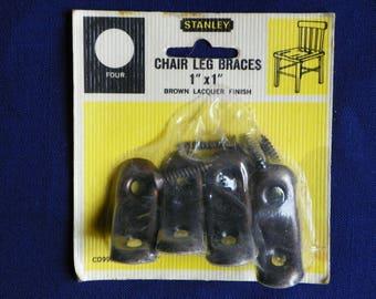 "Metal Chair Leg Brackets or Corner Braces 1"" by 1"" in Original Unopened Package, Stanley Brown Lacquer Finish Metal Corner Brackets"