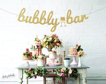 bubbly bar bachelorette party banner engagement party bridal shower custom wedding banner champagne bar mimosa bar bridal party