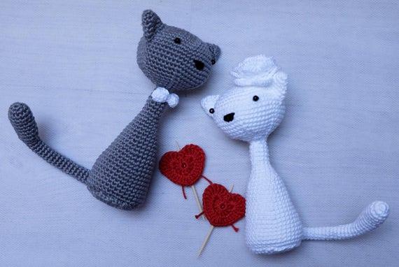 Häkeln Sie Katze/Kätzchen Paar. Hochzeits-Geschenk. Katze | Etsy
