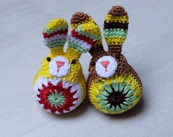 Crochet Easter bunnies. Colorful crochet bunny. Easter decoration. Yellow bunny. Brown bunny. Crochet amigurumi toy. Two bunnies.