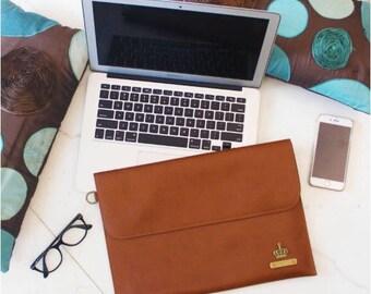 Personalized Vegan Leather Laptop Sleeve