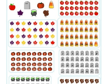 Set of Fall themed planner or calendar date covers in 7 different styles