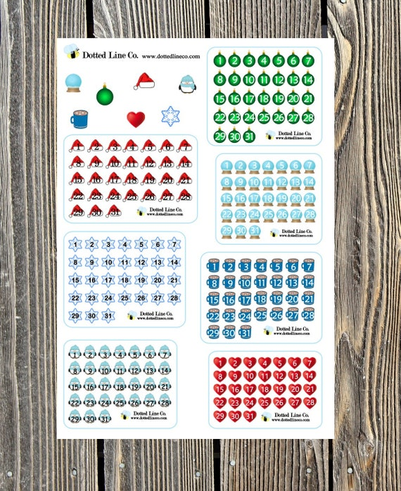 Set Of Winter Themed Planner Or Calendar Date Covers In 7 Etsy