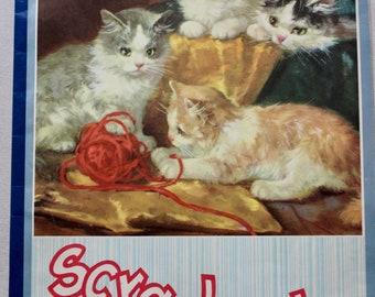 Vintage Unused Hilroy Scrapbook - No. 707 - Kittens with Yarn