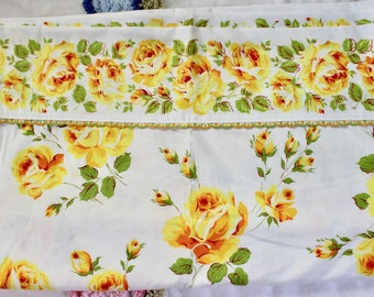 RESERVED Vintage Unused Wabasso Cotton Queen Top Flat Sheet - Yellow Roses