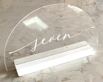 Set of Acrylic Table Numbers // Wedding table numbers // Clear Acrylic table numbers // Calligraphy table numbers // Wedding Decor //