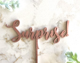 Surprise! cake topper / surprise birthday cake topper / custom wood cake topper / Laser Cut Topper / surprise party