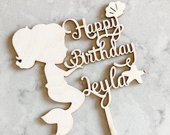 mermaid cake topper / custom birthday cake topper / birthday party / Laser Cut Topper / custom mermaid cake topper / personalized mermaid