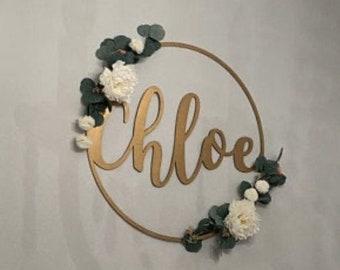 Custom Circle Name Sign / Wedding Sign / Custom Name Sign / Custom Name Cutout / Wedding Backdrop / Nursery Sign / Custom Family Sign