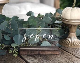 Set of Script Acrylic Table Numbers // Wedding table numbers // Clear Acrylic table numbers // Calligraphy table numbers // Wedding Decor