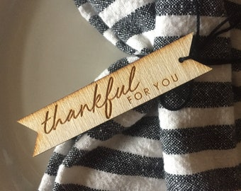 Thankful tags // Napkin Ring tags // one dozen thankful tags // thankful for you tags