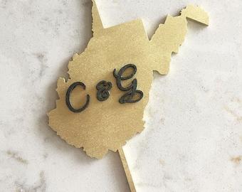 CUSTOM State Cake Topper // Wedding Cake Topper // Custom Cake Topper // Custom State  // Wood Cake Topper // Geometric wedding