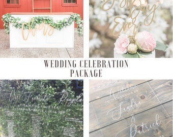 Custom Wedding Package / Wedding Welcome / Seating Chart / Cheers sign / Cake Topper