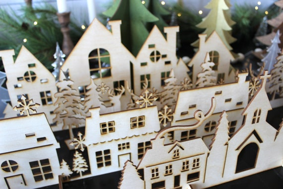 Laser Cut Wood Christmas Village Decorative Village
