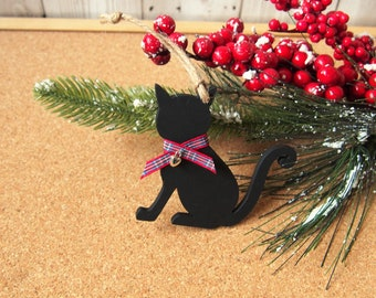 wooden cat christmas tree ornament black cat decoration christmas decoration cat lovers gift xmas stocking filler cat christmas gift