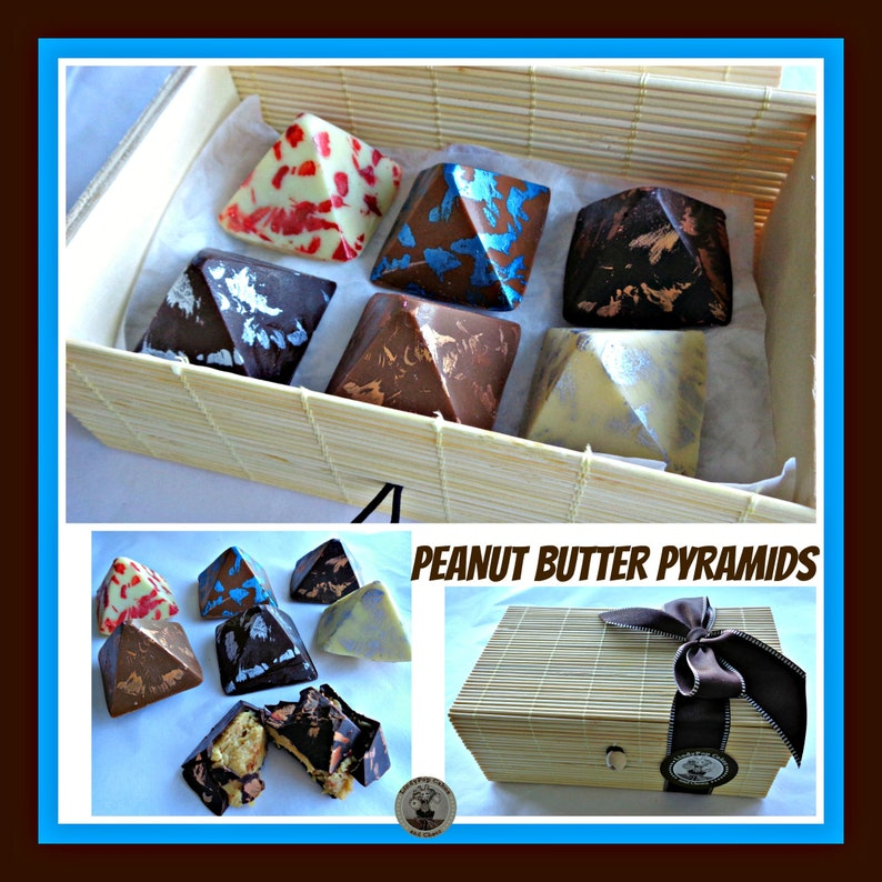 48a5fe92318ed Peanut Butter Chocolate Pyramids/Peanut Butter Gift/Nut Lover/Chocolate  Gift for him/for her/unisex/box of chocolates/husband boyfriend wife