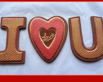 Chocolate Love Message/Chocolate Gift for Him/for Her/I Love U/Love You/Boyfriend/Girlfriend/husband/wife/anniversary/edible/man/male/Woman