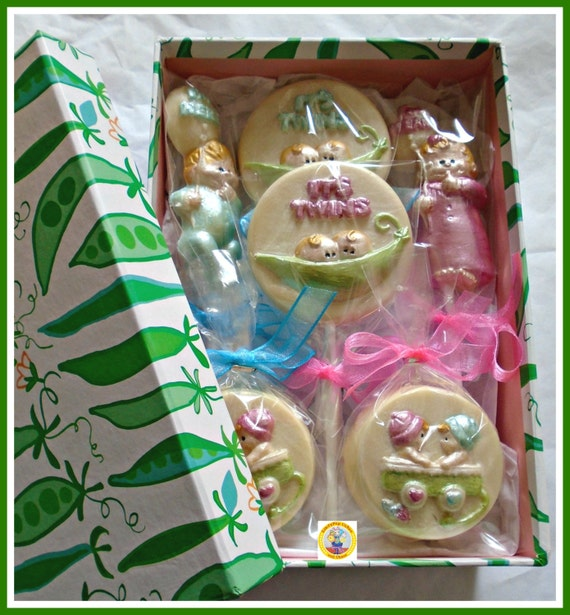 Baby shower//gift//twins//present//cute//favour peas in a pod Belgian chocolates