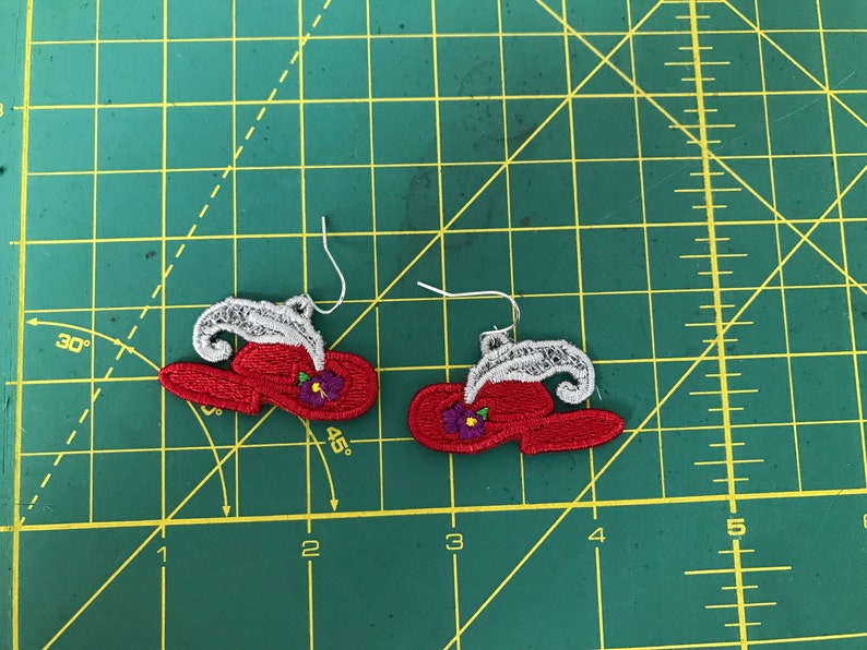 FSL Red Hat Earrings - Free standing Red Hat earrings - Red Hat embroidery  designs - 4x4 hoops - Red Hat earrings
