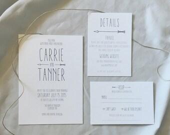 Arrow Wedding Invitation // Simple Wedding Invite // Deckled Wedding invite // Linen Wedding invite