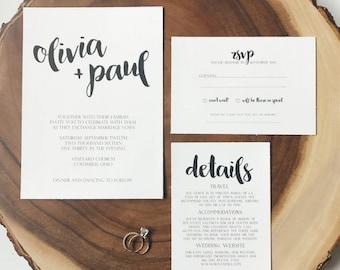 Olive Tree Minimalist Wedding Invitation - Simple Wedding Invitation Suite SAMPLE