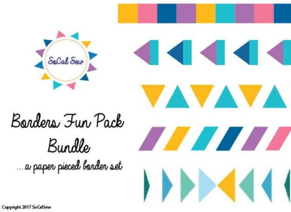 5 Fun Paper Pieced Quilt Borders Fun Pack Medallion Quilt Etsy