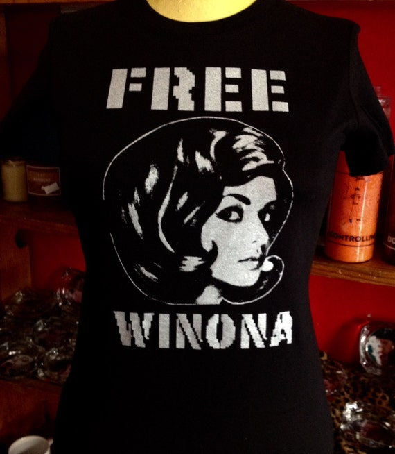 Original Free Winona Silk Screened Black T Shirt Etsy