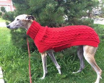 Greyhound Sweater, Greyhound Coat, Red Dog Sweater, Sighthound Coat, Dog Sweater, Large Dog Sweater, Large Dog Clothes, Knitted Dog Clothes