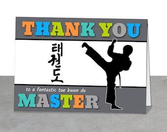Tae Kwon Do Thank You Card, Boy, Girl, Printable Card, Mentor Gift, Master, Tae Kwon Do, Thank You Printable, Korean Martial Arts, Gift