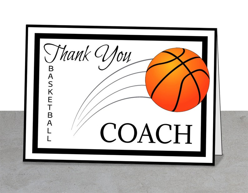 picture regarding Printable Basketball Pictures called PRINTABLE Staff Thank On your own Card for Basketball Train, Instantaneous Down load, Hoops, Basketball Teach, Thank Yourself Educate