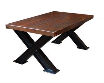 Genial Reclaimed Douglas Fir Coffee Table // Industrial I Beam U0027Xu0027 Style Steel Legs