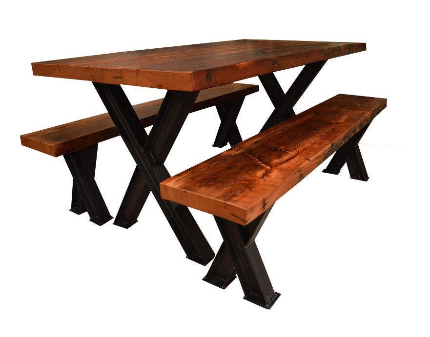 Fantastic Reclaimed Doug Fir Kitchen Table Benches X Style I Lamtechconsult Wood Chair Design Ideas Lamtechconsultcom