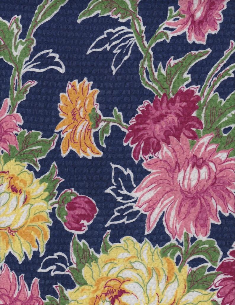 009f456112b Floral Border Print Dress Fabric Cotton Seersucker Lounge Robe