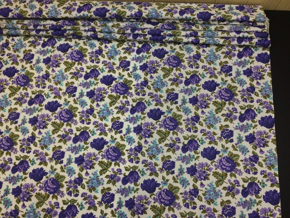 French Cottage Floral Fabric Cotton Craft Bark Cloth Curtain or Lampshade Design Reference Material
