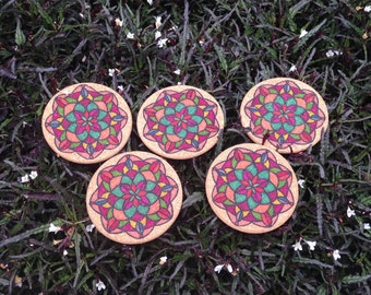 Mandala Cork coasters set of 5