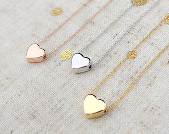 Dainty Gold Heart Pendant Necklace / Tiny Cute Heart / Handmade /Delicate /Good for Bridesmaid, Birthday Gift and for All Meaningful Gift