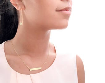 Gold Bar Necklace • Personalized • Express Yourself: Name, Date, Coordinates or Short Phrase • Customizable Bar Necklace •
