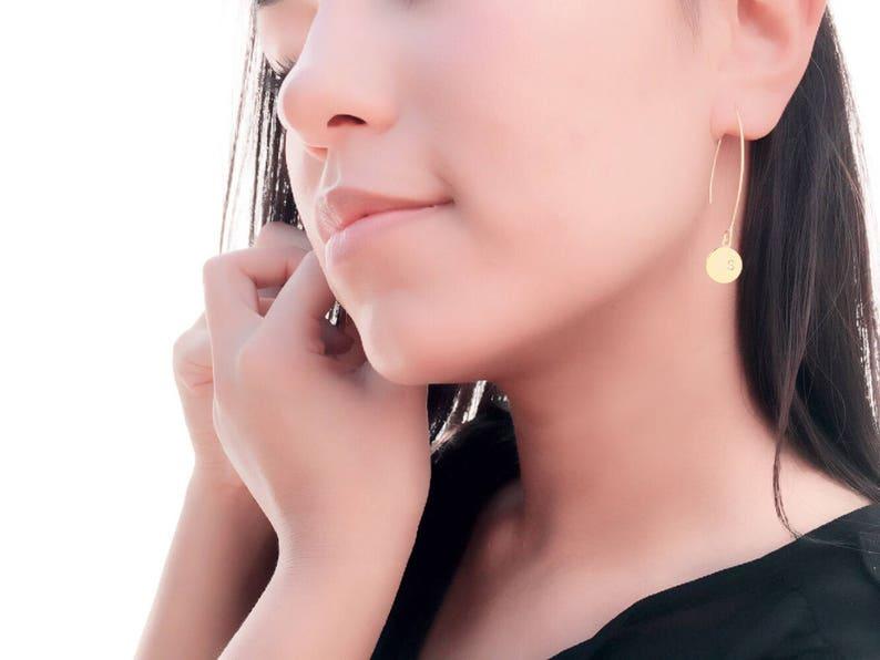 Arc Earrings \u2022 Arc Ear Threaders \u2022 Personalized Earrings \u2022 HAND Stamped Initial \u2022 Open Hoop \u2022 Wire Form \u2022 Perfect Gift for Friends /& Family